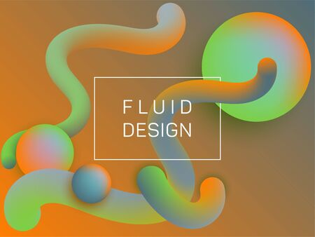 Plastic wavy fluid and spherical gradient shapes presentation cover. 3d motion concept background, bubbles and curve shapes flow. Gradient fluid elements future design. Chemical wallpaper.
