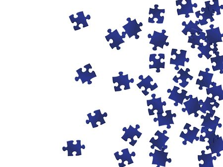 Game crux jigsaw puzzle dark blue pieces vector background. Scatter of puzzle pieces isolated on white. Teamwork abstract concept. Jigsaw pieces clip art.