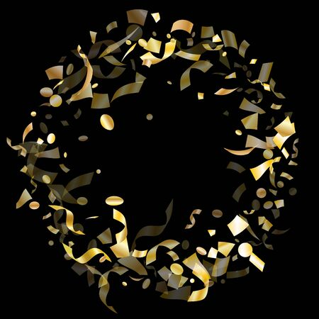 Gold glowing realistic confetti flying on black holiday vector background. Cool flying sparkle elements, gold foil gradient serpentine streamers confetti falling party vector.