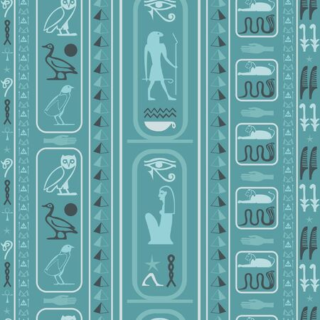 Ancient egypt writing seamless pattern. Hieroglyphic egyptian language symbols tile. Repeating ethnical fashion backdrop for wallpaper. Ilustração