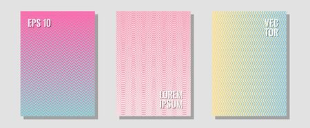 Cool flyers set, vector halftone poster backgrounds. Modern branding. Zigzag halftone lines wave stripes backdrops. Future mockups samples. Geometric lines shapes patterns set for flyer design. Stok Fotoğraf - 138738964