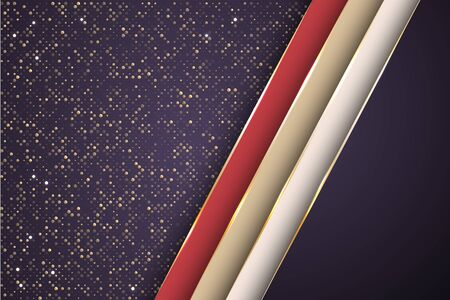 Gold halftone dots and inclined ribbon stripes banner vector design. Premium poster background template. Multi layers paper cut material design. Futuristic cover graphic design. 일러스트