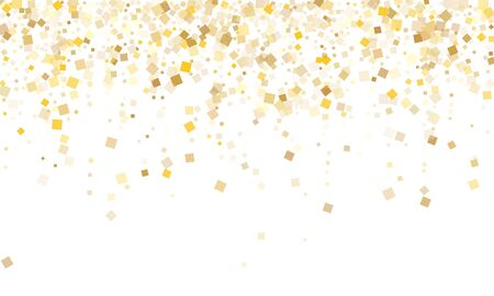 Glossy gold square confetti tinsels falling on white. Shiny New Year vector sequins background. Gold foil confetti party decoration space. Overlay sparkles party background. Stok Fotoğraf - 138739114