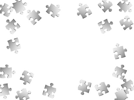 Abstract enigma jigsaw puzzle metallic silver parts vector illustration. Top view of puzzle pieces isolated on white. Challenge abstract concept. Connection elements. Vetores
