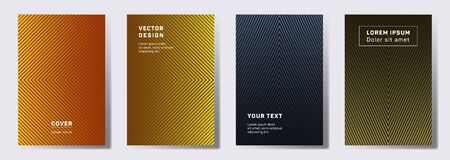 Minimal cover templates set. Geometric lines patterns with edges, angles. Linear backgrounds for catalogues, business magazine. Lines texture, header title elements. Annual report covers.