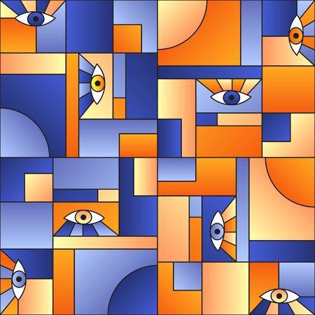 Colorful pattern with eyes in geometric shapes grid scandinavian fashion retro textile print. Modern background design. Open eyes bauhaus geometric seamless pattern. Interior vector design. Illustration