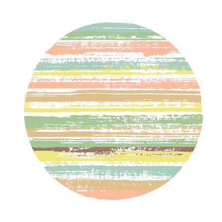Retro circle vector geometric shape with striped texture of paint horizontal lines. Disc banner with old paint texture. Stamp round shape circle with grunge background of stripes.