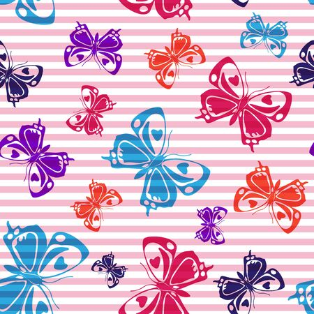 Flying natural butterfly silhouettes over horizontal stripes vector seamless pattern. Cartoon fabric print design. Stripes and butterfly winged insect silhouettes seamless pattern. Ilustração