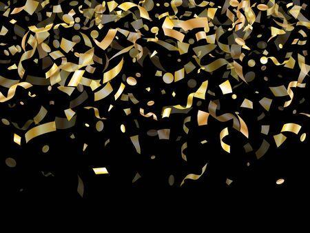 Gold glossy confetti flying on black holiday vector design. Beautiful flying tinsel elements, gold foil gradient serpentine streamers confetti falling anniversary background. Vettoriali