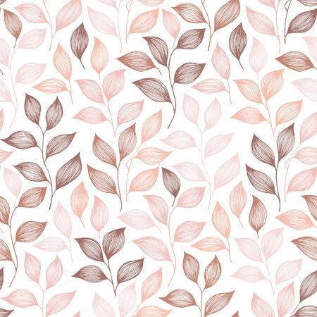 Packaging tea leaves pattern seamless vector. Minimal tea plant bush leaves floral textile design. Herbal sketchy seamless background pattern with nature elements. Flat summer foliage wallpaper.