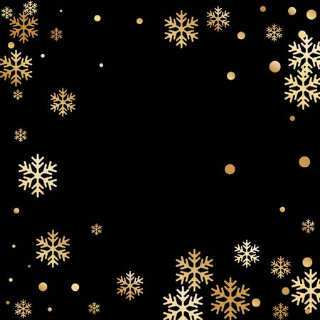 Winter snowflakes and circles border vector design. Unusual gradient snow flakes isolated poster background. New Year card border winter pattern with trendy snowflake shapes isolated.  イラスト・ベクター素材