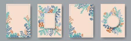 Simple herb twigs, tree branches, flowers floral invitation cards templates. Plants borders elegant invitation cards with dandelion flowers, fern, lichen, eucalyptus leaves, savory twigs.
