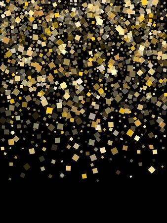 Glowing gold confetti sequins sparkles scatter on black. Glittering holiday vector sequins background. Gold foil confetti party glitter space. Rhombus particles party background.