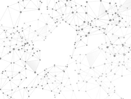 Concept numérique de communication sur les médias sociaux. Nœuds de réseau fond de plexus en niveaux de gris. Abstraction de formule chimique. Grille nette de points de nœud, matrice de lignes. Vecteur de l'espace du réseau mondial des médias sociaux.