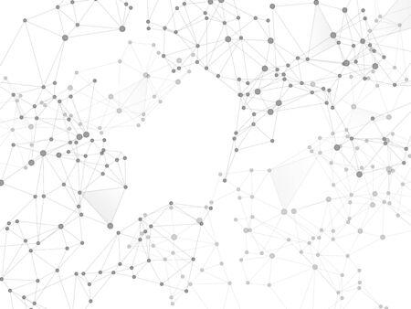 Social media communication digital concept. Network nodes greyscale plexus background. Chemical formula abstraction. Net grid of node points, lines matrix. Global social media network space vector.