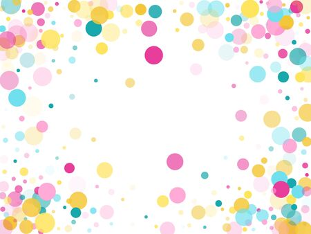 Memphis round confetti carnival background in cyan, pink and gold on white.  Childish pattern vector, children's party birthday celebration background.  Holiday confetti circles in memphis style.
