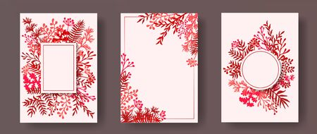 Tropical herb twigs, tree branches, leaves floral invitation cards collection. Herbal frames romantic cards design with dandelion flowers, fern, lichen, eucalyptus leaves, savory twigs.