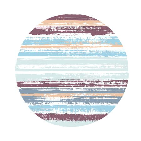 Retro circle vector geometric shape with striped texture of paint horizontal lines. Old paint texture disk. Emblem round shape logotype circle with grunge background of stripes.
