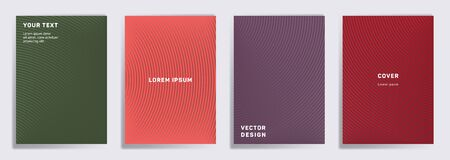 Minimal cover templates set. Radial semicircle geometric lines patterns. Halftone backgrounds for catalogues, business magazine. Lines texture, header title elements. Cover page layouts set.