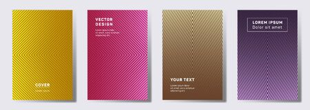 Colorful covers linear design. Geometric lines patterns with edges, angles. Modern backgrounds for catalogues, business magazine. Lines texture, header title elements. Cover page templates.