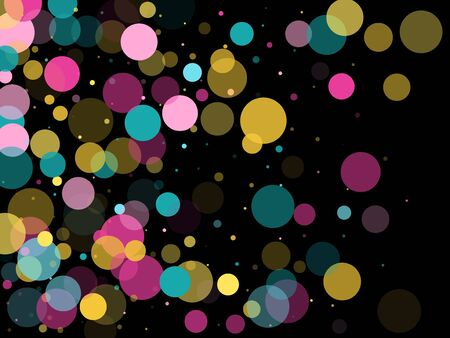 Memphis round confetti modern background in blue, pink and yellow on black.  Childish pattern vector, kid's party birthday celebration background.  Holiday confetti circles in memphis style.
