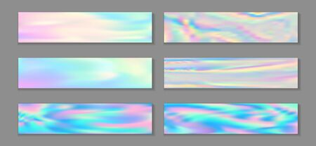 Holographic cute flyer horizontal fluid gradient mermaid backgrounds vector collection. Opalescence holographic texture gradients. Fluid graphic design minimal mermaid backgrounds. 일러스트