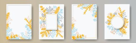 Cute herb twigs, tree branches, flowers floral invitation cards templates. Herbal frames romantic invitation cards with dandelion flowers, fern, lichen, olive tree leaves, savory twigs.