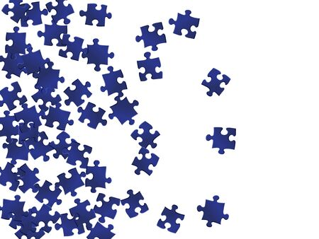 Game riddle jigsaw puzzle dark blue parts vector illustration. Group of puzzle pieces isolated on white. Challenge abstract concept. Connection elements.