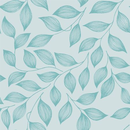 Wrapping tea leaves pattern seamless vector illustration. Decorative tea plant bush turquoise leaves floral fabric ornament. Herbal sketchy repeating background pattern with nature elements.