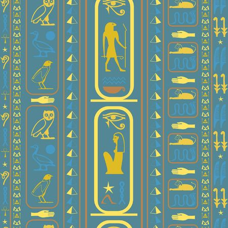 Colorful egyptian motifs seamless vector. Ethnic hieroglyph symbols grid. Repeating ethnical fashion graphic design for wrapping paper.