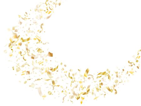 Gold glowing realistic confetti flying on white holiday vector graphic design. Cool flying tinsel elements, gold foil texture serpentine streamers confetti falling christmas vector.