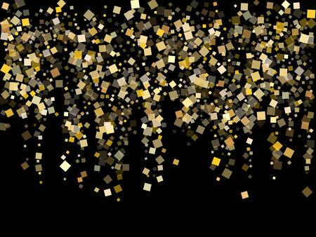 Yellow gold square confetti sparkles flying on black. Shiny New Year vector sequins background. Gold foil confetti party elements isolated. Light dust particles invitation backdrop.