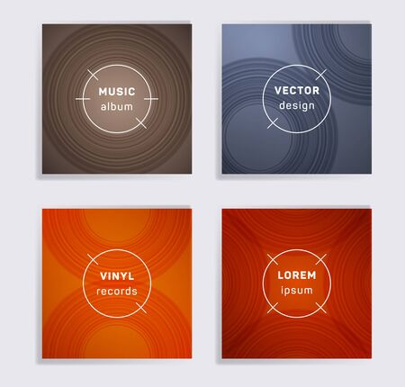 Gradient vinyl records music album covers set. Semicircle curve lines patterns. Tech creative vinyl music album covers, disc mockups. DJ records disc vector mockups. Posters material design.
