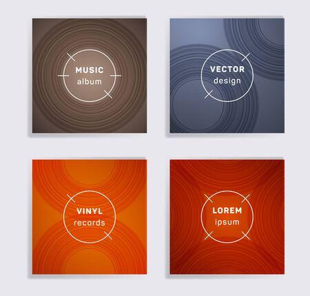 Gradient vinyl records music album covers set. Semicircle curve lines patterns. Tech creative vinyl music album covers, disc mockups. DJ records disc vector mockups. Posters material design.
