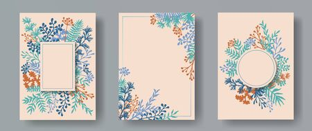 Hand drawn herb twigs, tree branches, flowers floral invitation cards collection. Plants borders modern cards design with dandelion flowers, fern, lichen, olive tree leaves, sage twigs.