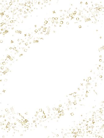 Memphis style gold geometric confetti vector background with triangle, circle, square shapes, zigzag and wavy line ribbons. Glittering 80s style bauhaus gold decor confetti falling on white. Ilustração