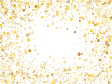 Minimal gold square confetti sparkles scatter on white. VIP Christmas vector sequins background. Gold foil confetti party particles pattern. Light dust pieces invitation backdrop.