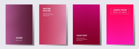 Minimalist covers linear design. Geometric lines patterns with edges, angles. Halftone poster, flyer, banner vector backgrounds. Lines texture, header title elements. Cover page templates.