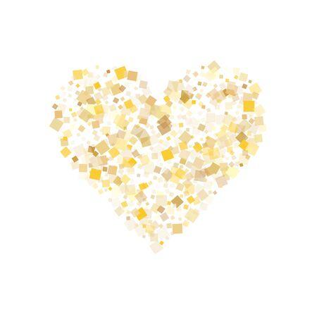 Festive gold square confetti sparkles scatter on white. Glittering New Year vector sequins background. Gold foil confetti party pieces graphic design. Many sparkles invitation backdrop. Ilustração