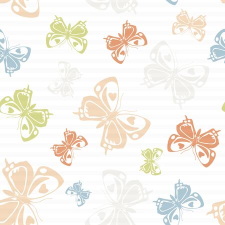Flying decorative butterfly silhouettes over striped background vector seamless pattern. Baby clothing textile print design. Stripes and butterfly winged insect silhouettes seamless illustration. Ilustração