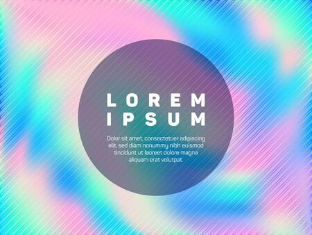 Fashionable flyer neon hologram texture vector background. Liquid abstract blur splashes backdrop. Elegant neon holographic gradient template for flyer design.