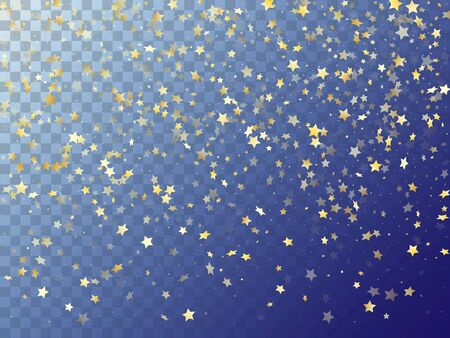 Star shining gold gradient sparkles on transparent background. Chic vector magic stars gold falling sparkles with gradient texture on transparent. Party tinsels scatter flying pattern.