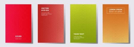 Minimalist covers linear design. Geometric lines patterns with edges, angles. Abstract backgrounds for notepads, notice paper covers. Line shapes patterns, header elements. Cover page templates.