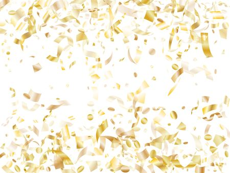 Gold glowing realistic confetti flying on white holiday poster background. Creative flying sparkle elements, gold foil texture serpentine streamers confetti falling birthday vector.
