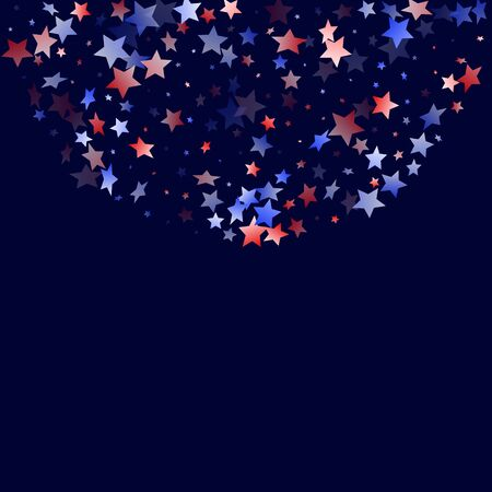 American Memorial Day stars background. Holiday confetti in US flag colors for Patriot Day.  Solemn red blue white stars on dark American patriotic vector. July 4th stardust elements. Ilustrace