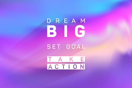 Dream big, set goal, take action business quote poster. Vector banner with motivational life, sport or business slogan. Dream big quote, set goal inspirational text, motivation to take action. Vectores