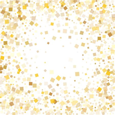 Modern gold confetti sequins sparkles falling on white. Chic holiday vector sequins background. Gold foil confetti party decoration illustration. Overlay particles surprise backdrop.
