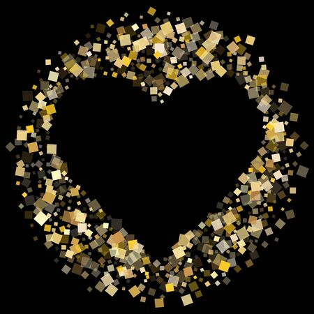 Birthday gold square confetti tinsels flying on black. Chic holiday vector sequins background. Gold foil confetti party elements isolated. Light dust particles surprise backdrop.