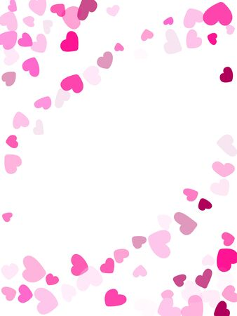 Crimson hearts confetti frame border invitation card vector background. Amazing falling hearts isolated graphic design.  일러스트
