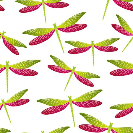 Dragonfly girlish seamless pattern. Repeating clothes textile print with damselfly insects. Garden water dragonfly vector ornament. Nature organisms seamless. Damselflies with wings.